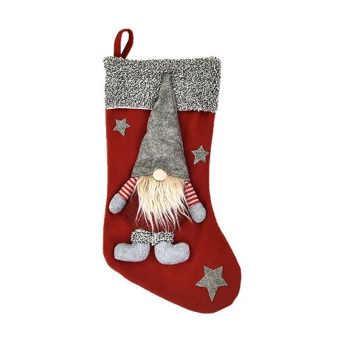 (Red) Christmas Elf Cloth Stocking