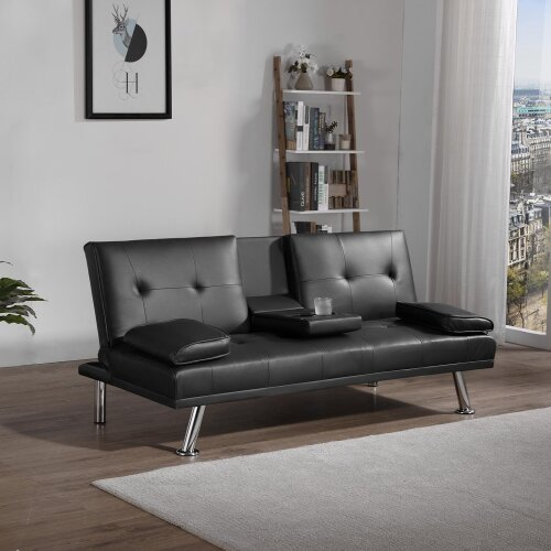(Black) 3 Seater Sofa Bed Sofas Bed Magazine Leather