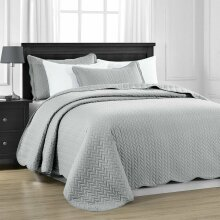3 Piece Satin Embossed Quilted Bedspread Throw & Pillow Shams