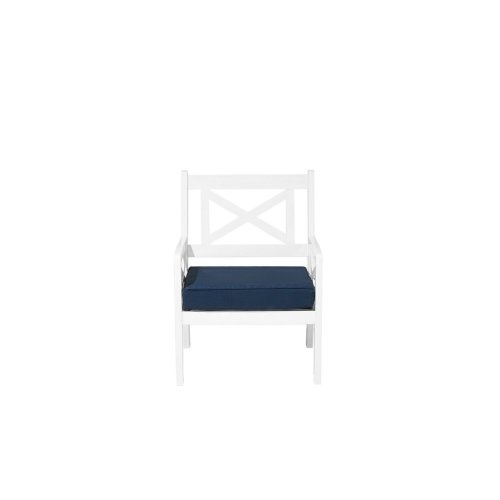Garden Chair White with Blue Cushion BALTIC