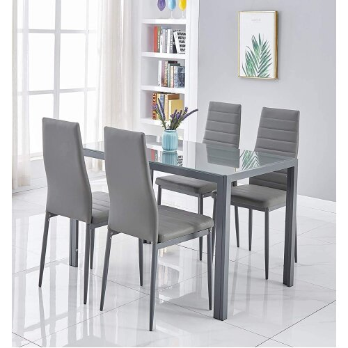 ALL GREY GLASS DINING TABLE AND 4 GREY CHAIRS