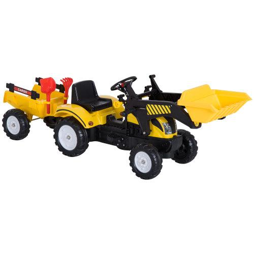 HOMCOM Pedal Go Kart Ride on Excavator Wheels Tyres Kids Children -Yellow