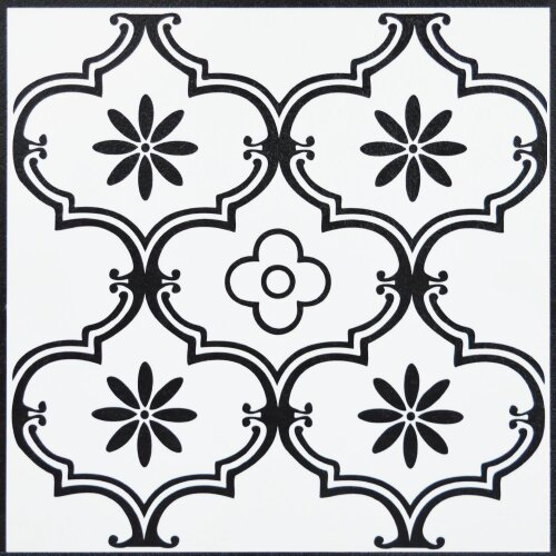 Floor Tiles Self Adhesive Vinyl Flooring Black White Floral Tile Kitchen Bathroom 1m²