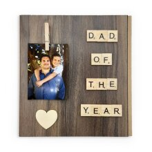Father Day Gift Idea Custom Scrabble Tile Frame Dad Of The Year Personalized Picture Holder Photography Print Birthday Christmas Gift