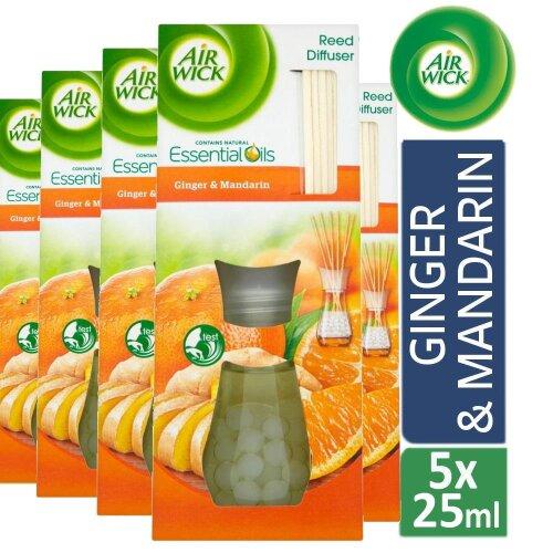 5 x Air Wick Reed Diffuser Air Freshener Essential oil Ginger & Mandarin 25ml