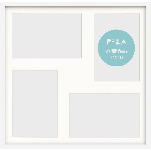 "17x17""/4 7x5"" Multi Oxford White Photo Frame with Soft Cream Mount - Glass Window"
