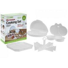 Pack Of 4 White Microwave Set. - Potato Omelette Egg Poacher Set Baker Cookware -  microwave potato omelette egg poacher 4 set baker cookware cooker