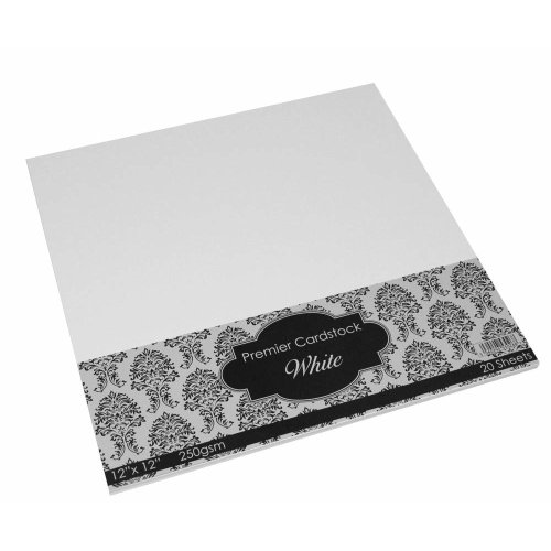 Craft UK 2019 12 x 12 inch 250gsm Premier Card - White (pack of 20 sheets)