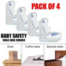 4x Clear Rubber Furniture Corner Edge Cushion Guard Protector Safety