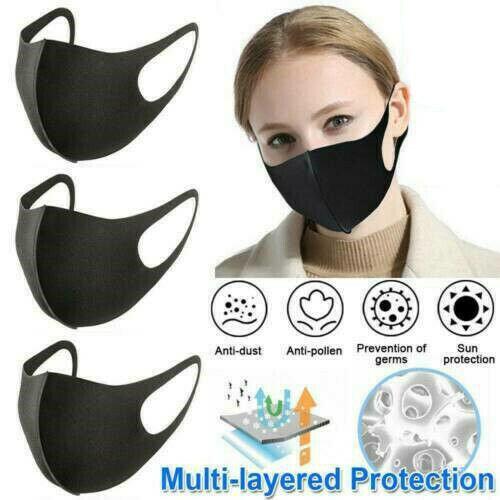 (Adult-20pcs) 1-100PCS Mouth Face Mask Anti Dust Fog Reusable Washable Earloop Protection Mask Adult Kids