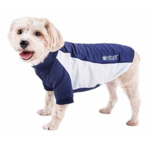 Pet Life PLHL1NVLG Active Barko Pawlo Relax-Stretch Wick-Proof Performance Dog Polo T-Shirt, Navy & White - Large