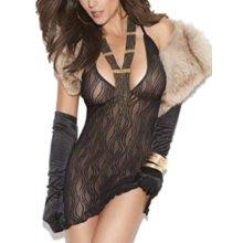 Elegant Moments 8526 Swirl Lace Mini Dress. Black One Size