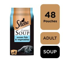 SHEBA Classics SOUP Cat Pouches With Ocean Fillets & Vegetables 4x40g (Pack Of 12)