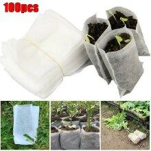 100pcs Nursery Plant Bags Grow Bags Biodegradable Non Woven Fabric Seedling Pot