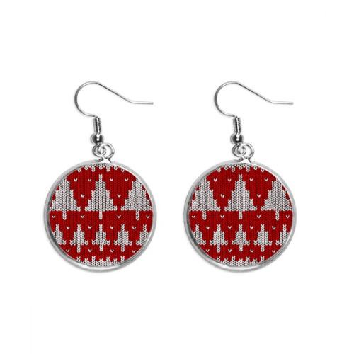 Red Tree Knit Nordic Illustration Pattern Ear Dangle Silver Drop Earring Jewelry Woman