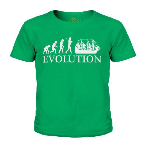 (Irish Green, 9-10 Years) Candymix - Argosy Evolution Of Man - Unisex Kid's T-Shirt