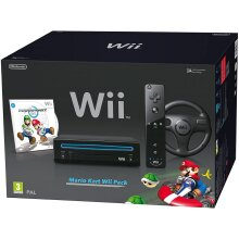 Nintendo Wii Console (Black) with Mario Kart Wii: Includes Wii Wheel and Wii Remote Plus - Used