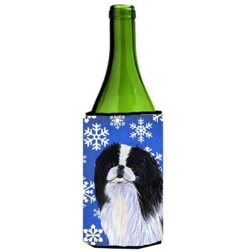 Japanese Chin Winter Snowflakes Holiday Wine bottle sleeve Hugger