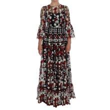 Black Chamomile Roses Embroidered Dress