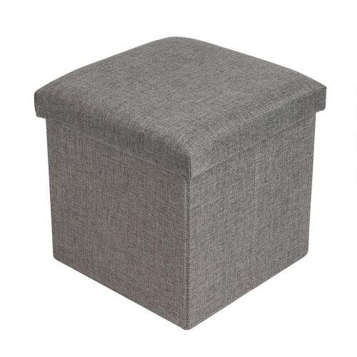 (Gray) Folding Storage Cube & Footstool