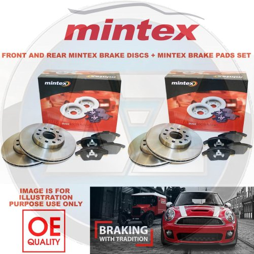 for AUDI A4 B8 FRONT & REAR MINTEX BRAKE DISCS AND BRAKE PADS SET 314mm 300mm