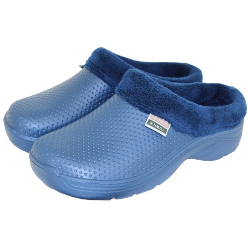 Town & Country Fleece Lined Slip On Cloggies for Warmth & Comfort - Navy, Size 4