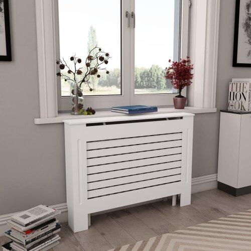 Vidaxl 2x Radiator Covers White Mdf Living Room Bedroom Heater Cabinet Shelf On Onbuy