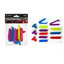 13pc Bag Clips - Coloured Bag Clips