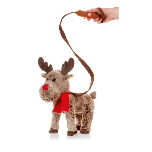 Xmas Musical singing Walking Animated Plush 39cm Reindeer on lead Character