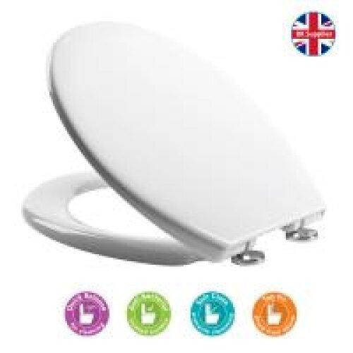Croydex Eldon White Soft Close Toilet Seat Anti Bacterial coated