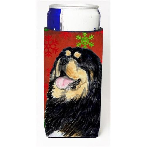 Tibetan Mastiff Red Green Snowflake Christmas Michelob Ultra bottle sleeves For Slim Cans - 12 oz.