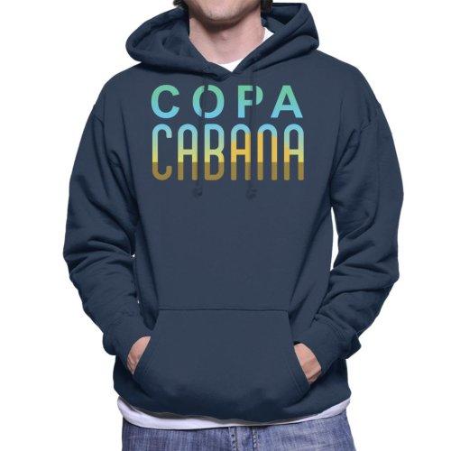 (X-Large, Navy Blue) Copacabana Sunset Text Men's Hooded Sweatshirt