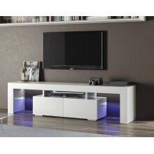TV Unit Cabinet Stand Modern Matt Finish Storage 130cm LED Light