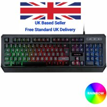 Gaming Keyboard Rainbow RGB LED Backlit Wired USB For PC Laptop Xbox One PS4 UK