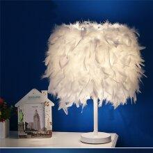 Feather Table Lamp Elegant Bedside Desk Night Light White Lampshade Table Light