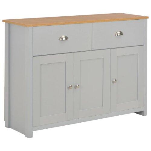 vidaXL Sideboard Grey 112cm Cabinets Organiser Storage Stand Buffet Display