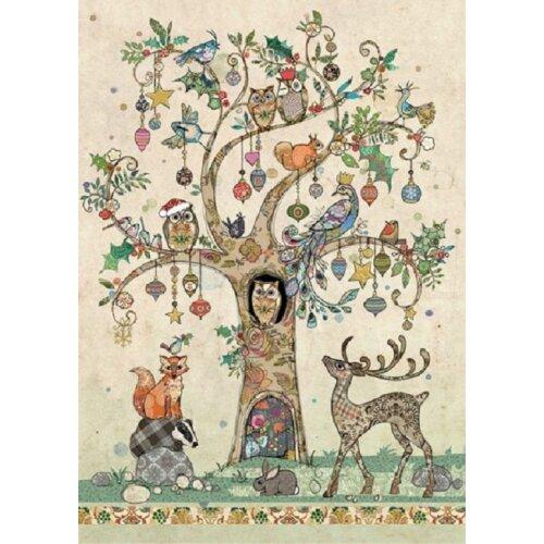 Bug Art Blank Christmas Greetings Card - Festive Tree