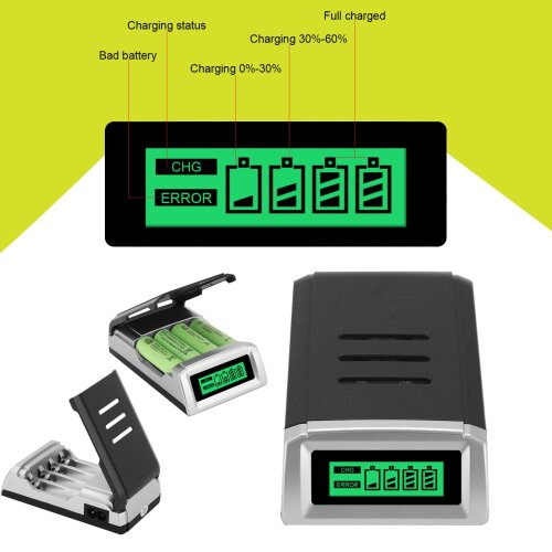 Intelligent LCD Display Fast Battery Charger fits AA AAA  Batteries