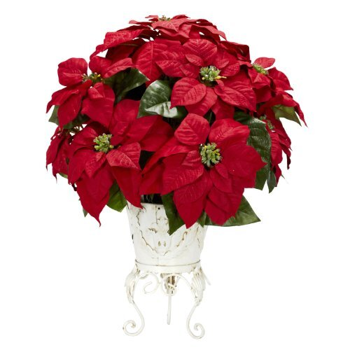Nearly Natural 1267 Poinsettia with Metal Planter Silk Flower Arrangement Red