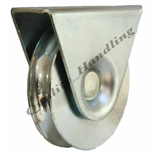 100mm pulley wheel in bracket guide wheel steel wheel 16mm 'U' groove