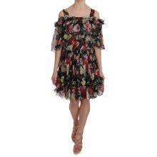 Silk Chiffon Floral Cold Shoulder Mini Dress