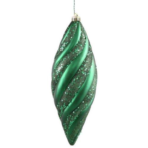 Vickerman N118224 Emerald Spiral Matte-Glitter Spiral Drop Ornament - 8 in. - 3 Per Box