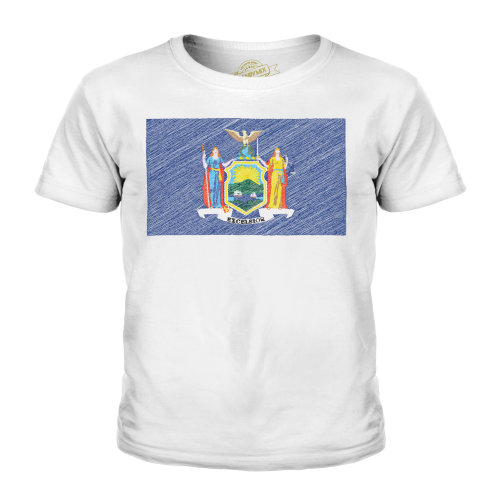 Candymix - New York State Scribble Flag - Unisex Kid's T-Shirt