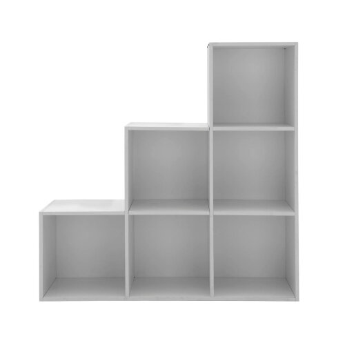 (Gray) 6 Cube Step Storage Bookcase Unit Shelf