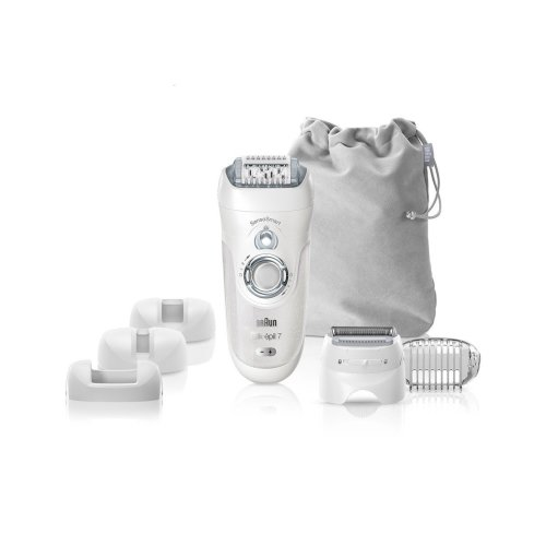 Braun Silk-Epil 7 7-880 SensoSmart Cordless Wet and Dry Epilator with 7 Extras, Ladies Electric Shaver, Silver