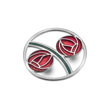 Red Mackintosh Roses Brooch Curved Silver Plated Brand New Gift Packaging