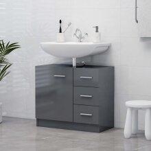 vidaXL Sink Cabinet High Gloss Grey Chipboard Cupboard Storage Rack Organiser