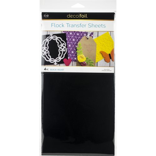 "Deco Foil Flock Transfer Sheets 6""X12"" 4/Pkg-Black Velvet"