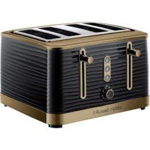 Russell Hobbs 24385 Inspire Brass 4 Slice Toaster Black - Brand New