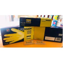 Box of 100 Yellow Powdered Vinyl Gloves Large